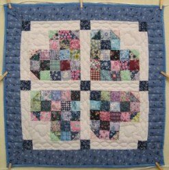 Custom Amish Quilts - Patched Heart Patchwork Small Quilt Wall Hanging