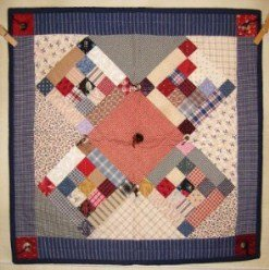 Custom Amish Quilts - Country Nine Patch Button Small Quilt Wall Hanging