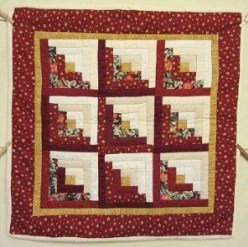 Custom Amish Quilts - Red Gold Log Cabin