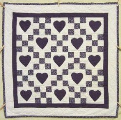Custom Amish Quilts - Nine Patch Heart Small Quilt Wall Hanging