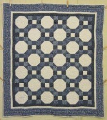 Custom Amish Quilts - Snowball Patchwork Blue Certified Annie Small Quilt Wall Hanging