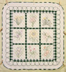 Custom Amish Quilts - Embroidered Flowers Small Quilt Wall Hanging