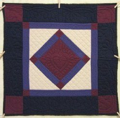 Custom Amish Quilts - Central Diamond Amish Dutch Colors Navy Purple Plum Small Quilt Wall Hanging