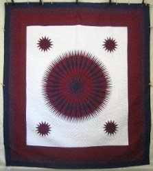 Custom Amish Quilts - Mariners Compass Radiating Star Burgundy