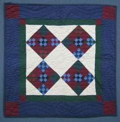 Custom Amish Quilts - Amish Improved Nine Patch Diamond Patchwork Small Quilt Wall Hanging Navy Burgundy Green