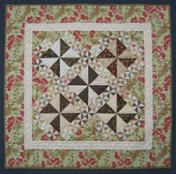 Custom Amish Quilts - Pinwheel Delight Small Quilt Patchwork Wall Hanging Sage Green Pink