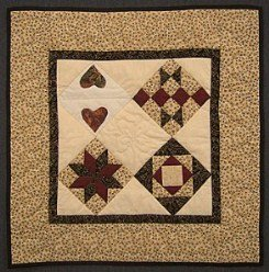 Custom Amish Quilts - Sampler Heart Star Small Patchwork Wall Hanging Quilt Tan Burgundy