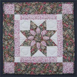 Custom Amish Quilts - Dahlia Star Pink Rose Green Small Quilt Patchwork Wall Hanging