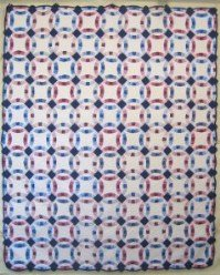 Custom Amish Quilts - Double Wedding Ring Patchwork Blue Rose