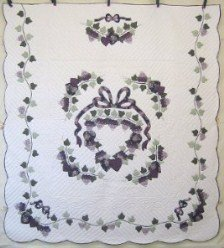 Custom Amish Quilts - Grape Wreath Applique Purple Plum