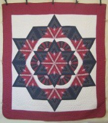 Custom Amish Quilts - Broken Radiating Fan Star Burgundy Navy