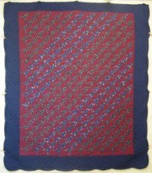 Custom Amish Quilts - Turkey Tracks Patchwork Navy Burgundy