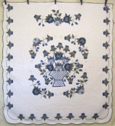 Custom Amish Quilts - Basket Roses Flowers Applique Blue Green
