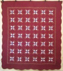 Custom Amish Quilts - Pineapple Patchwork Red Burgundy
