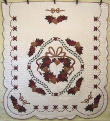 Custom Amish Quilts - Rose Flower Wreath Applique Red Gold