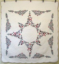 Custom Amish Quilts - Flower Star Applique Green Red