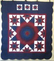 Custom Amish Quilts - Stars Around Lone Star Blue Burgundy