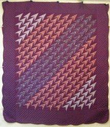 Custom Amish Quilts - Turkey Tracks Patchwork Plum Burgundy