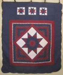 Custom Amish Quilts - Central Star Patchwork Blue Red