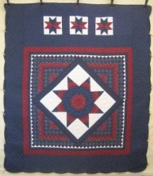 Custom Amish Quilts - Central Star Patchwork Navy Red