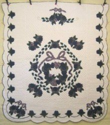 Custom Amish Quilts - Wreath Roses Bouquet Applique Navy Green