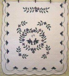 Custom Amish Quilts - Love Birds Applique Green Blue