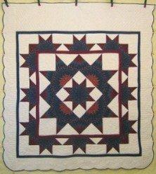 Custom Amish Quilts - Stars Around Stars Navy Patchwork
