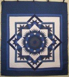 Custom Amish Quilts - Broken Twinkling Mariners Star Blue