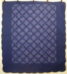 Custom Amish Quilts - Log Cabin Trellis Blue Navy Patchwork