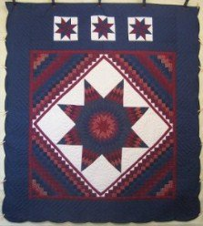 Custom Amish Quilts - Central Lone Star Commons Burgundy Navy