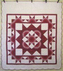 Custom Amish Quilts - Red Starburst Around Star Patchwork