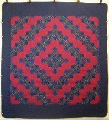 Custom Amish Quilts - Log Cabin Stars Red Navy