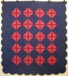 Custom Amish Quilts - Log Cabin Patchwork Red Blue