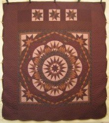 Custom Amish Quilts - Radiating Mariners Compass Star Brown