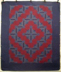 Custom Amish Quilts - Log Cabin Star Patchwork Blue Red Navy