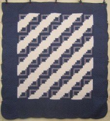 Custom Amish Quilts - Log Cabin Steps Patchwork Blue White