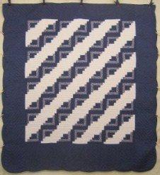 Custom Amish Quilts - Log Cabin Steps Patchwork Blue White