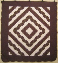 Custom Amish Quilts - Fan Log Cabin Brown Patchwork
