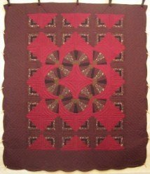 Custom Amish Quilts - Log Cabin Fan Radiating Brown Burgundy