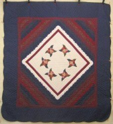 Custom Amish Quilts - Roses Ocean Waves Patchwork Applique Navy Burgundy